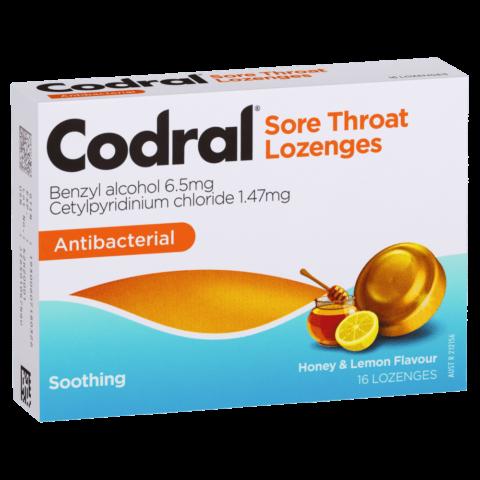 Codral Sore Throat Antibacterial Lozenges 16 Pack - Honey & Lemon