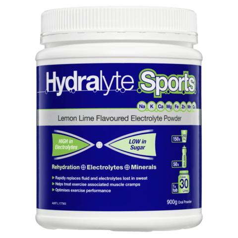 Hydralyte Sports Lemon Lime Flavoured Electrolyte Powder 900g