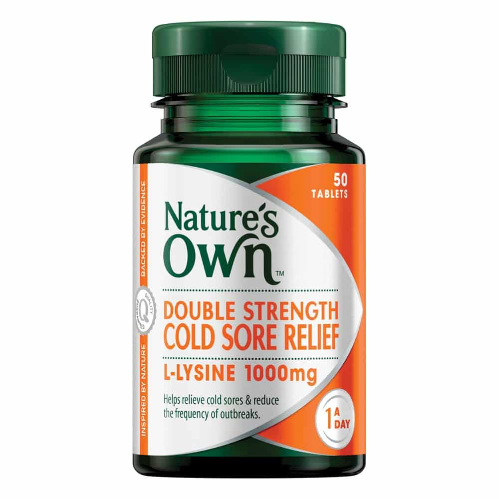 nature's own double strength cold sore relief l-lysine 1000mg 50
