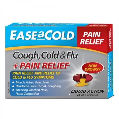 EASEaCOLD Cough Cold & Flu + Pain Relief 24 Soft Capsules