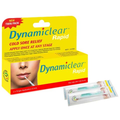 Dynamiclear Rapid Single Dose Cold Sore Relief 0.5mL Twin Pack