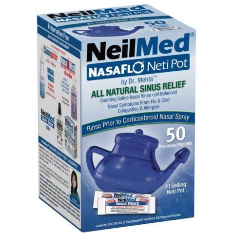 NeilMed NasaFlo Neti Pot + 50 Premixed Sachets