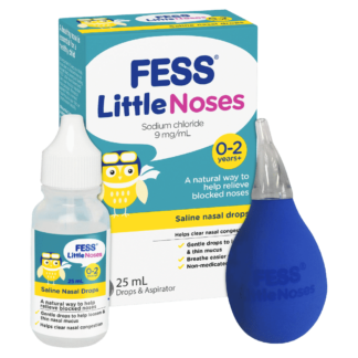 Fess Little Noses Saline Nasal Drops + Aspirator 25mL
