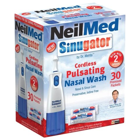NeilMed Sinugator Cordless Pulsating Nasal Wash + 30 Premixed Sachets