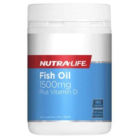 Nutra-Life Fish Oil 1500mg Plus Vitamin D 180 Capsules
