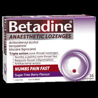 Betadine Anaesthetic Lozenges 16 Pack - Berry